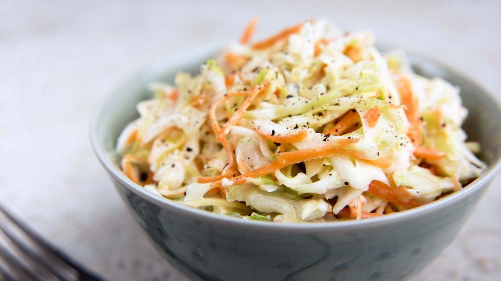Freshly made coleslaw in a bowl.