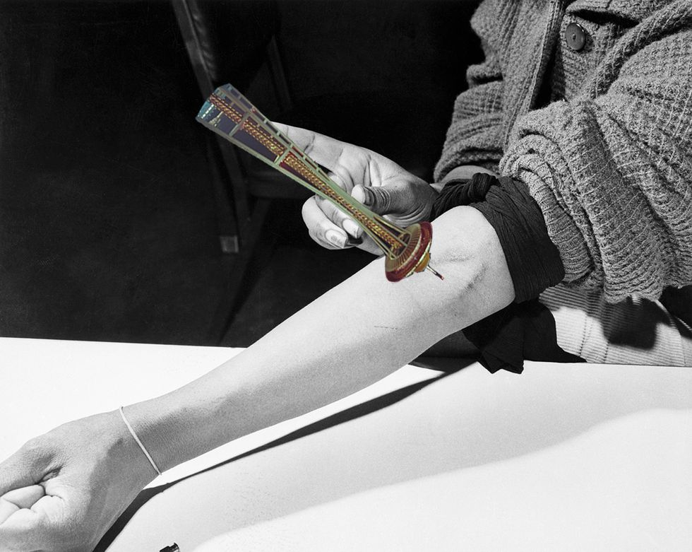 A person injecting the Space Needle into their arm, in the style of heroin.