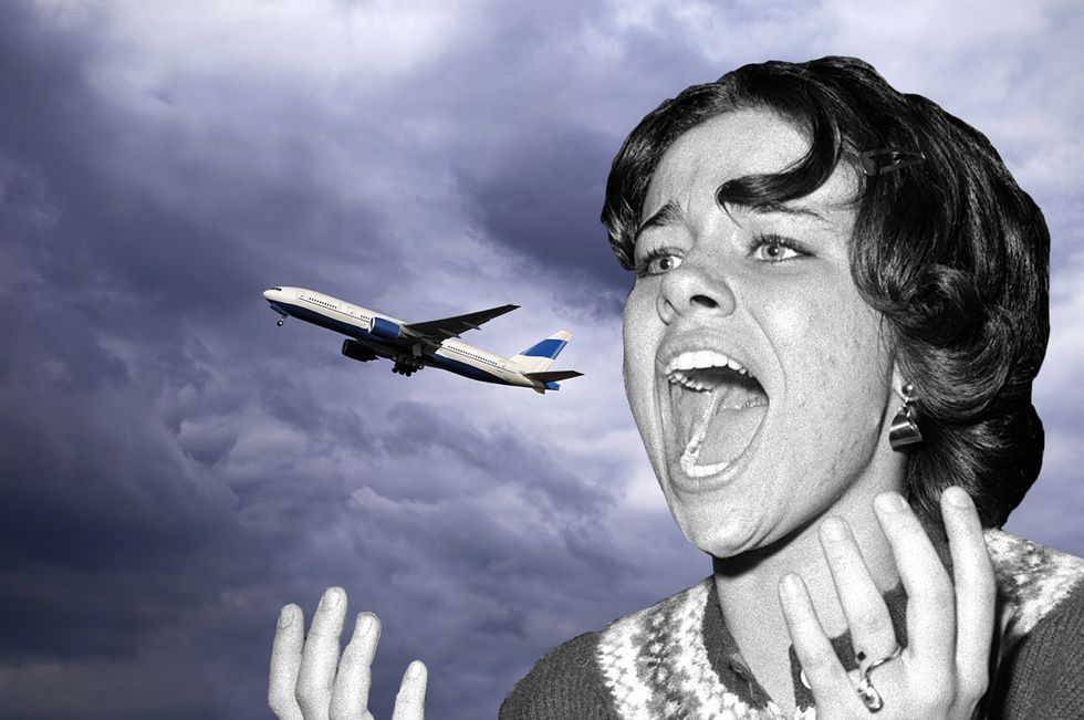 A woman in panic screaming at an airplane taking off – i.e. over nothing.