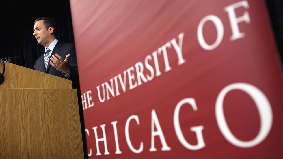 Republican National Committee Chairman Reince Priebus speaks to students at the University of Chicago. (Scott Olson/Getty Images)