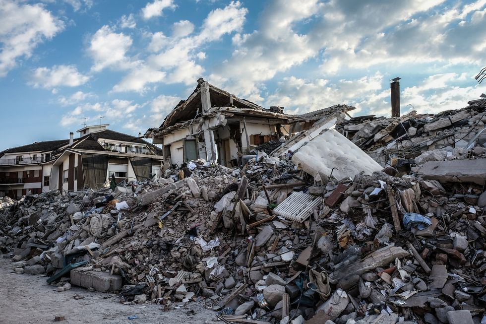 A general view of Amatrice on August 26, 2016. Central Italy was struck by a powerful, 6.2-magnitude earthquake in the early hours, which has killed nearly 300 people and devastated dozens of mountain villages. Photo by Vittorio Daniele/NurPhoto via Getty