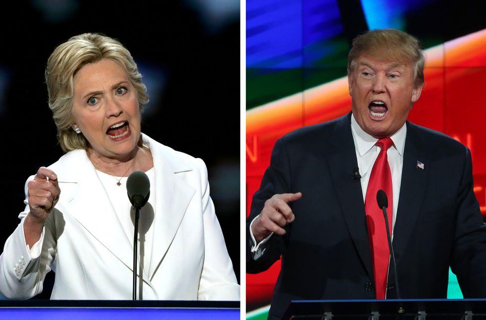 Hillary Clinton and Donald Trump at their debate podiums.