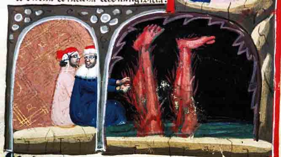 Detail of a miniature of Virgil reaching for Lucifer's legs and above, climbing out of the mouth of Hell with Dante. (British Library via Picryl)