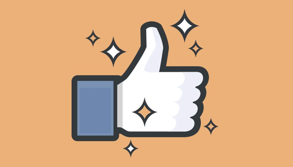 a sparkling Facebook thumbs-up 'like' icon