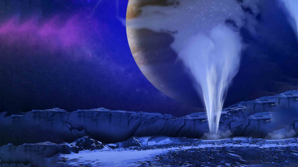 Artist's concept of Europa water vapor plume (Wikimedia Commons)