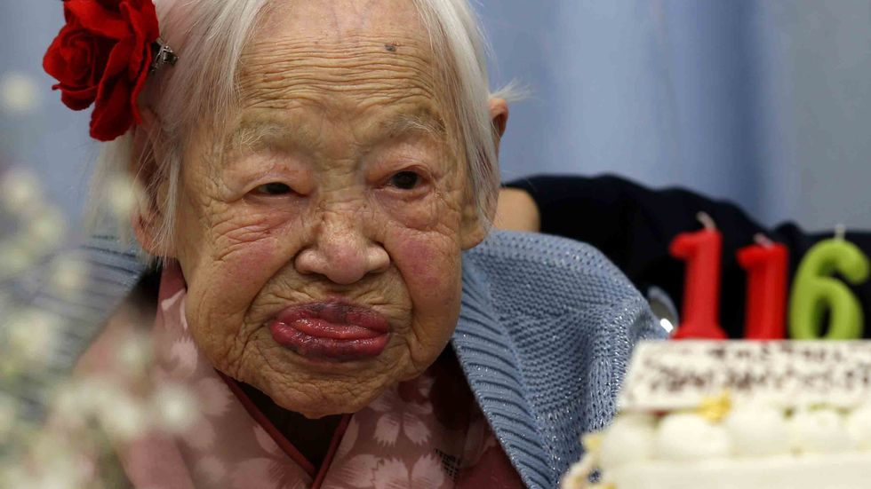 Misao Okawa, the world's oldest Japanese woman looks on her 116th birthday celebration on March 5, 2014 in Osaka, Japan. (Photo by Buddhika Weerasinghe/Getty Images)