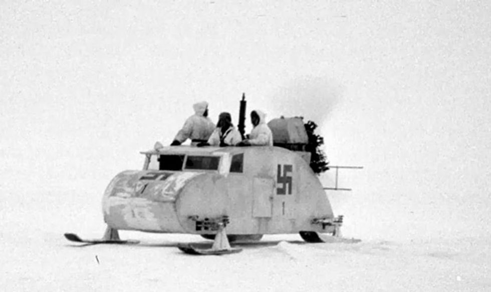 Propeller-driven snowmobile near Haapasaari, Finland. The swastika was used as the official national marking of the Finnish Air Force and Tank Corps between 1918 and 1945. (SA-kuva)