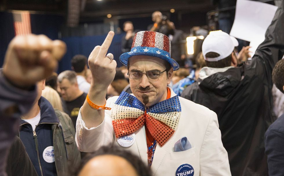 A Trump supporter at a rally. (Photo by Scott Olson/Getty Images)