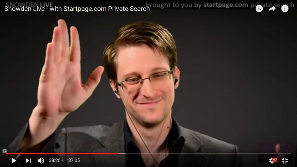 Edward Snowden appeared via satellite on a live stream held by anonymous search engine StartPage.