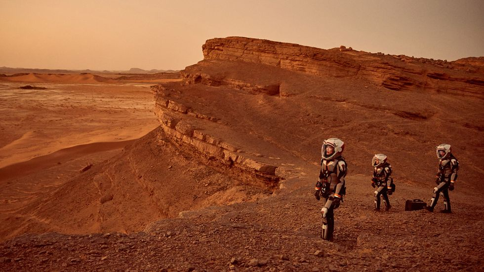 The first crew of Martian astronauts survey their new home. Credit: Mars, National Geographic Channel