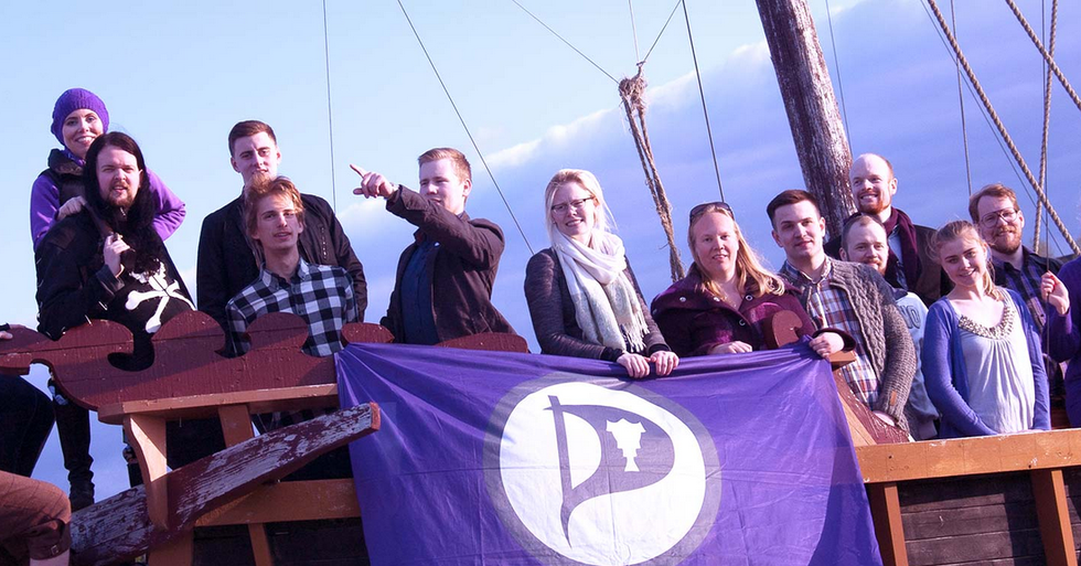 Iceland's Pirate Party holding court from a Viking Ship. Credit: European Pirate Party.