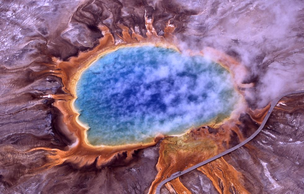 Microbial mats around the Grand Prismatic Spring, Yellowstone National Park.