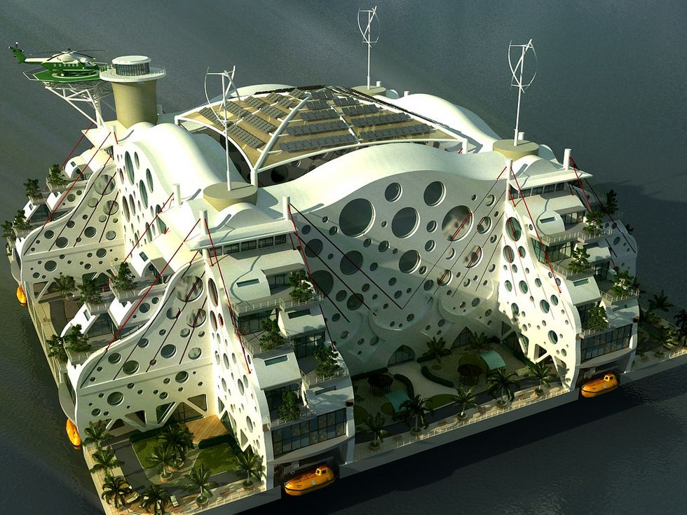 Model for a seasteading city.