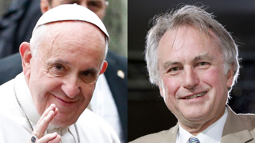 Pope Francis and Richard Dawkins, both positively cheery in the face of death.