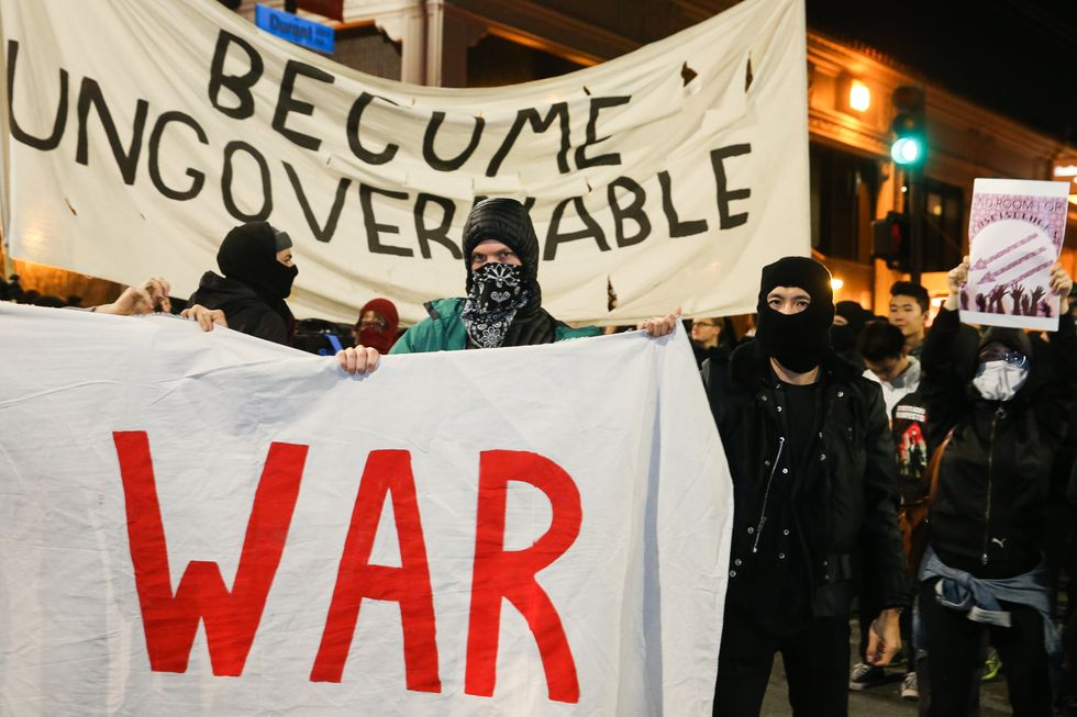 Antifa protestors in Berkeley.