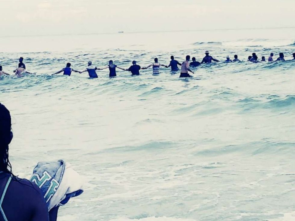 Remembering when a human chain of 80 people rescued a drowning family trapped by rip current