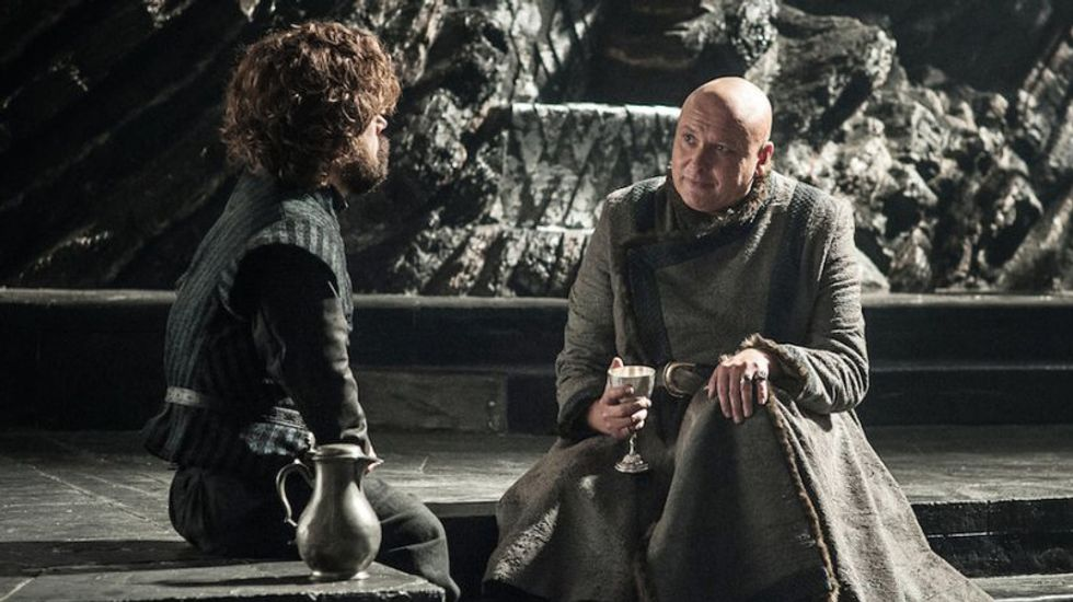 Varys makes a point U.S. leaders could benefit from hearing as he shares a wine with Tyrion in 'Eastwatch'. [Image: HBO]