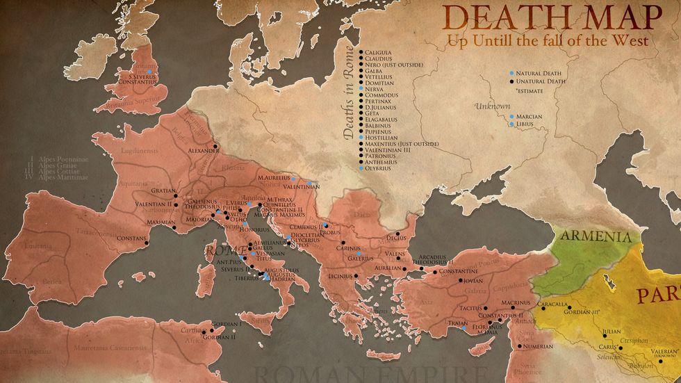 Veni, Vidi, Gone: A Death Map of Roman Emperors