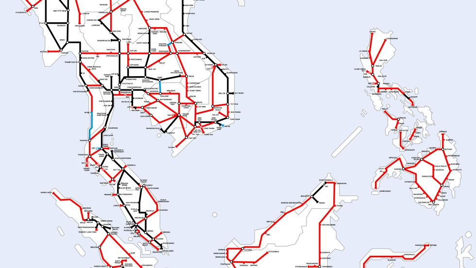 A Utopian Map of Southeast Asian Railways