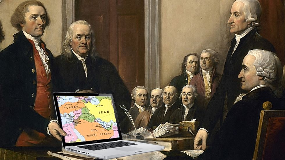 The Founding Fathers discussing whether or not to invade Iraq.