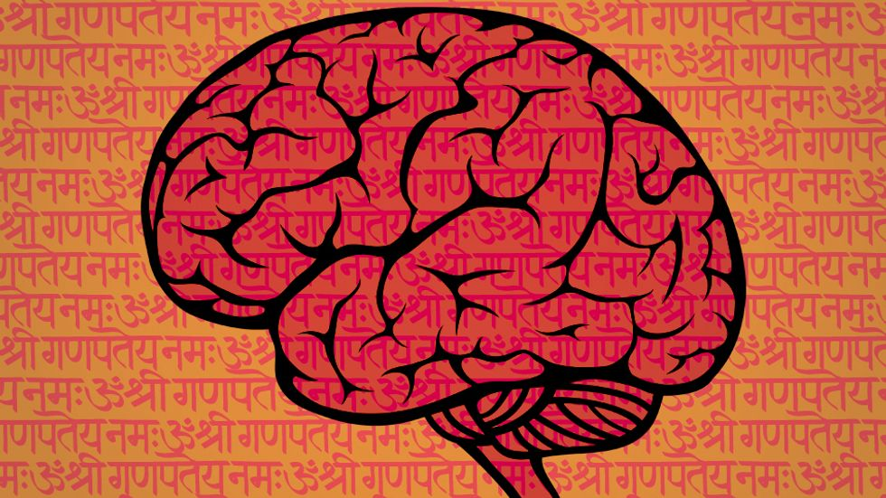 Handwritten Sanskrit script. (Image: Shutterstock)