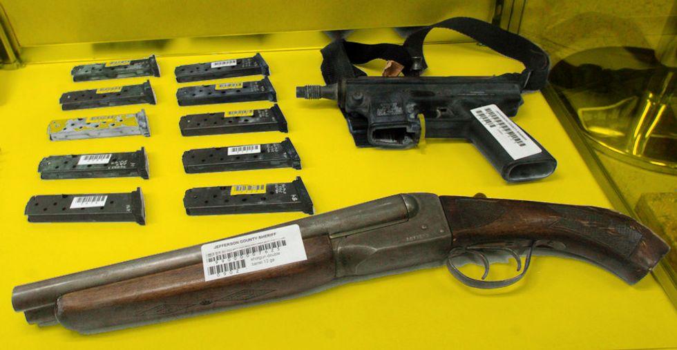 Guns used in the Columbine shooting.