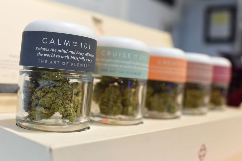 Marijuana for a calming effect is for sale at the Higher Path medical marijuana dispensary in the Sherman Oaks area of Los Angeles, California, December 27, 2017. (Photo by Robyn Beck/AFP/Getty Images)
