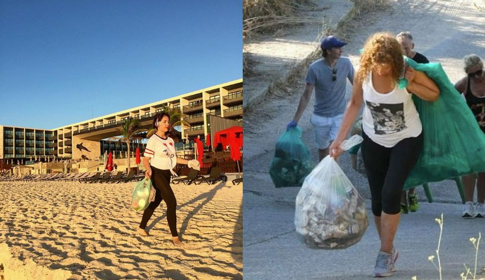 Ploggers work out and clean up in Playa del Carmen (Instagram @richmariscal) and Buenos Aires (Instagram @ambienteradio).