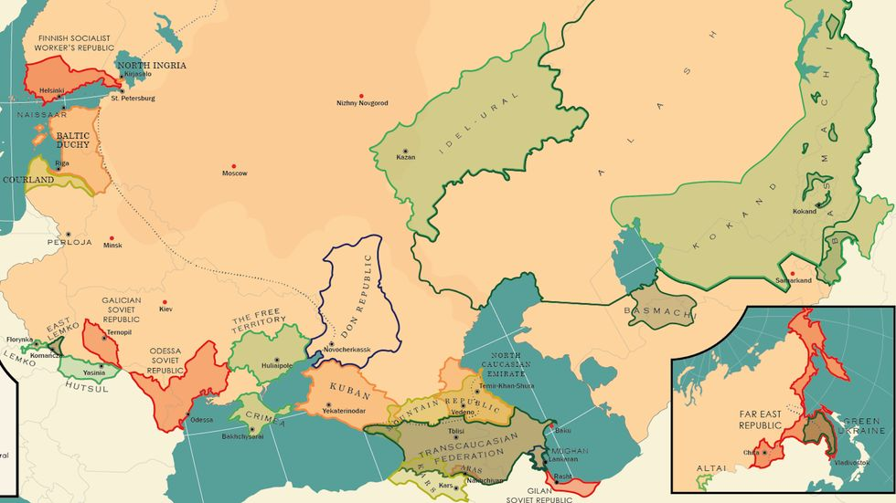 A map of some of the dozens of short-lived states that existed after the fall of the Czar and before the consolidation of Soviet power.