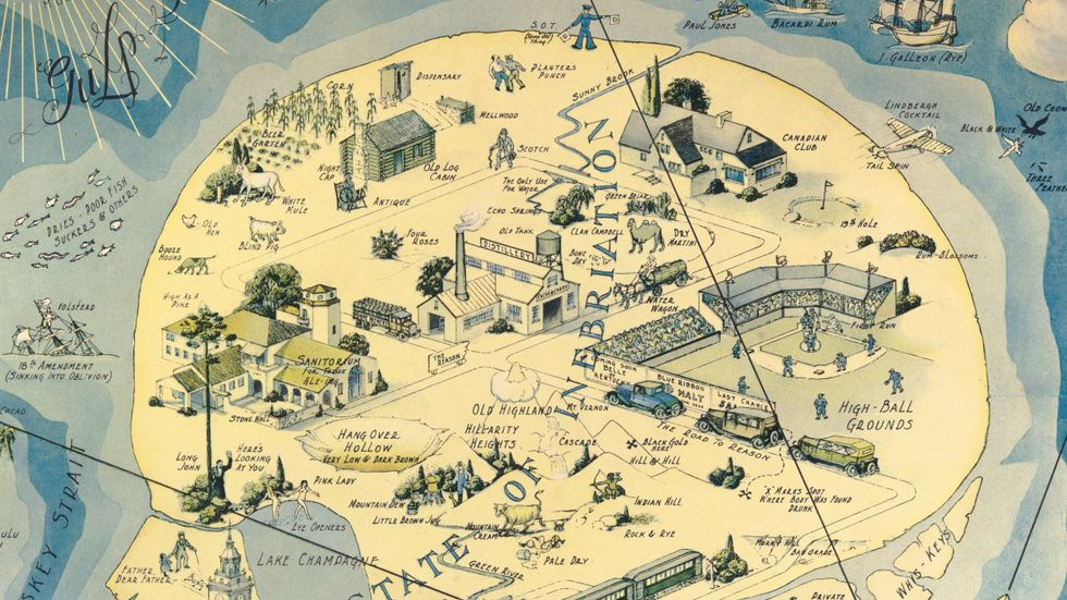 'Isle of Pleasure', a 1931 map by H.J. ('Heinie') Lawrence, shows the pleasures of alcohol, even though Prohibition was still not officially abolished