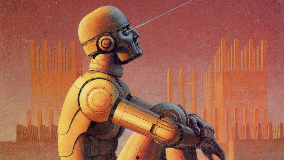"10 best A.I. books. (Image: Ralph McQuarrie cover art for ""Robot Visions"" by Isaac Asimov, 1990.)"