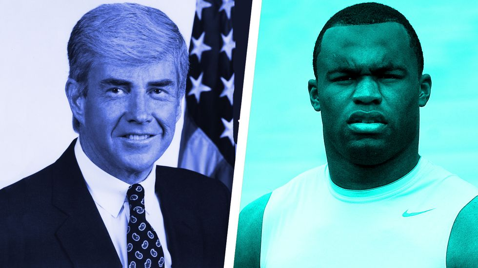 Left: Jack Kemp, American politician and a professional gridiron football player. Right: Myron Rolle, neurosurgery resident at Harvard/Massachusetts General Hospital. (Photos: Getty/Wikimedia/Big Think)