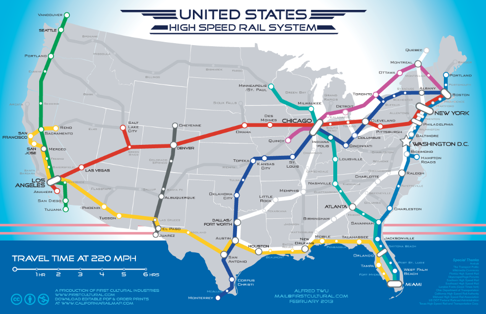 Toronto Dream Subway Map.A Fantasy Map Of America S High Speed Rail Network Big Think
