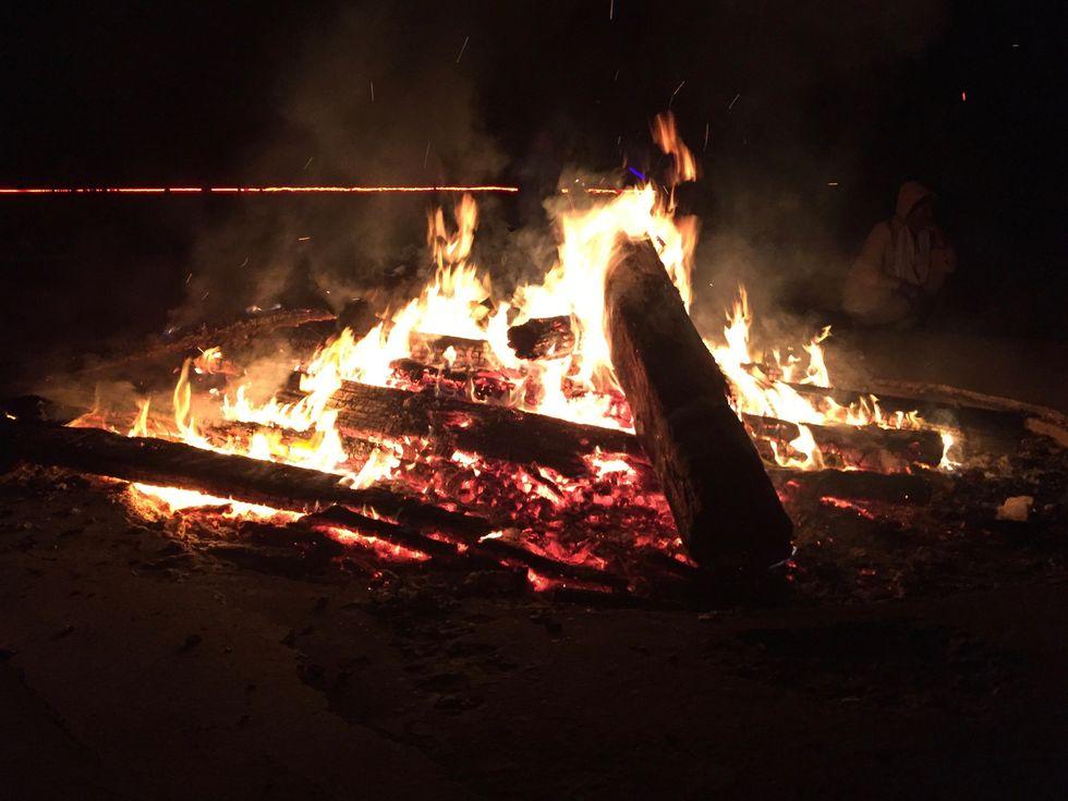 bonfire at retreat, representing the spirit of God