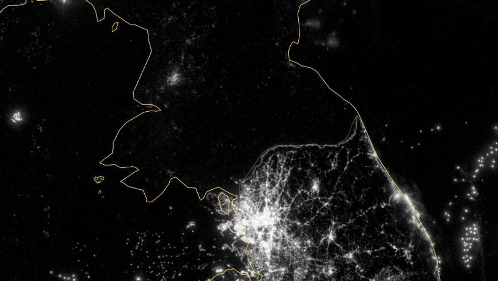 Korea's Political Divide, as Seen by Satellite