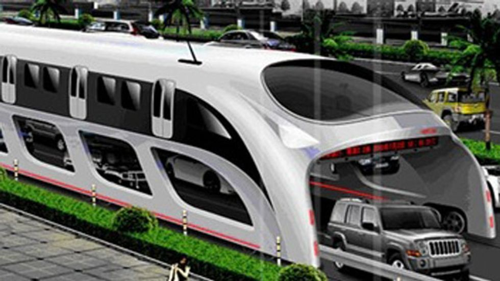 """Chinese """"Straddling"""" Bus Offers to Alleviate Traffic Congestion"""