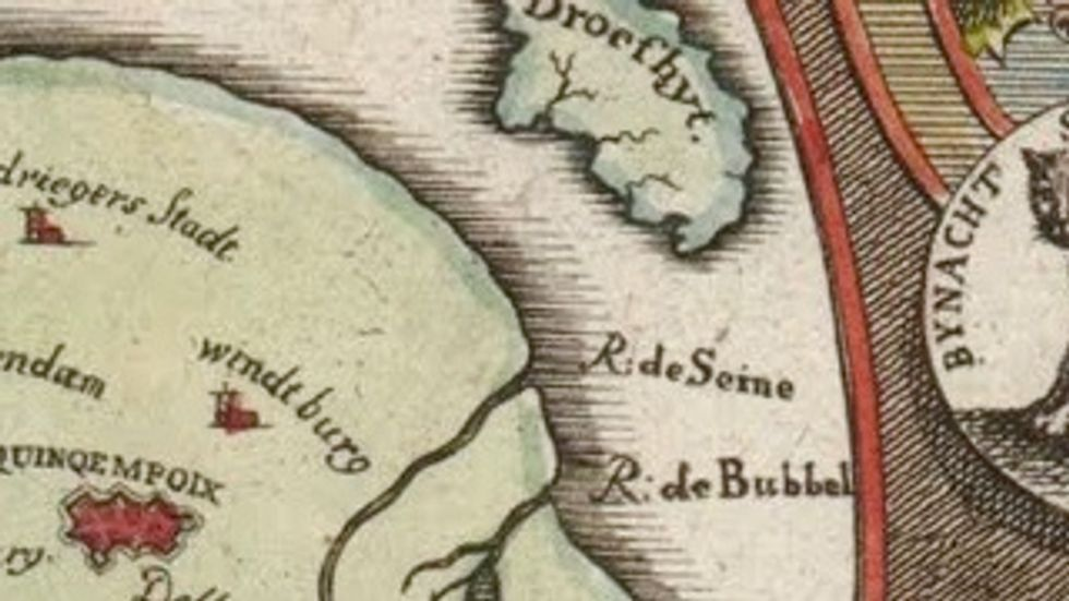 The Fool's Head Map: a Fossil of the Financial Bubbles of 1720