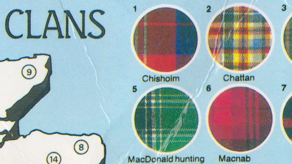 A Postcard Map of Scottish Tartans
