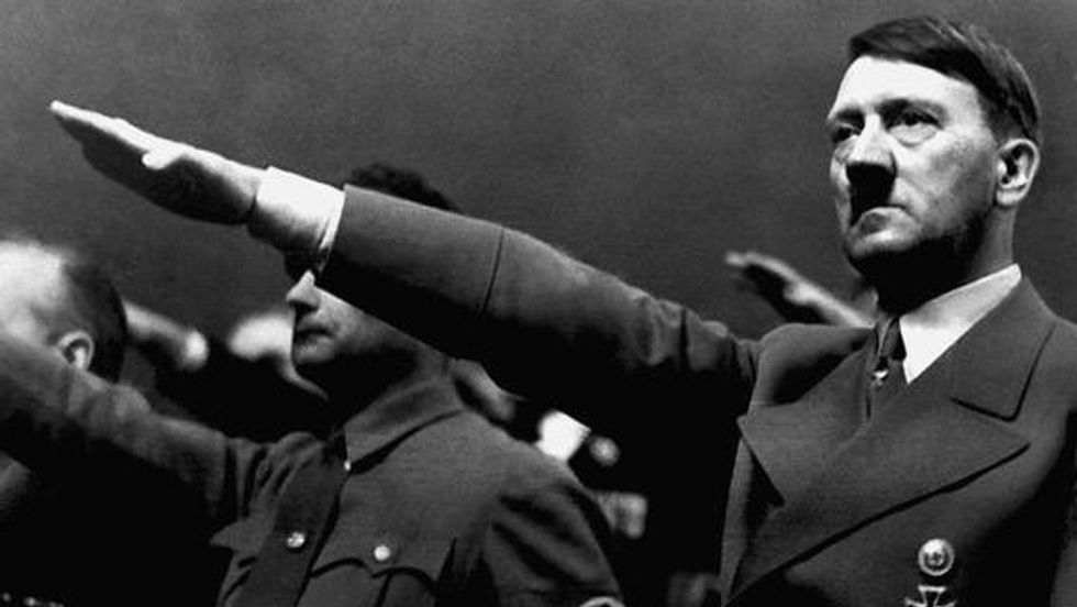 Adolf Hitler giving his signature salute
