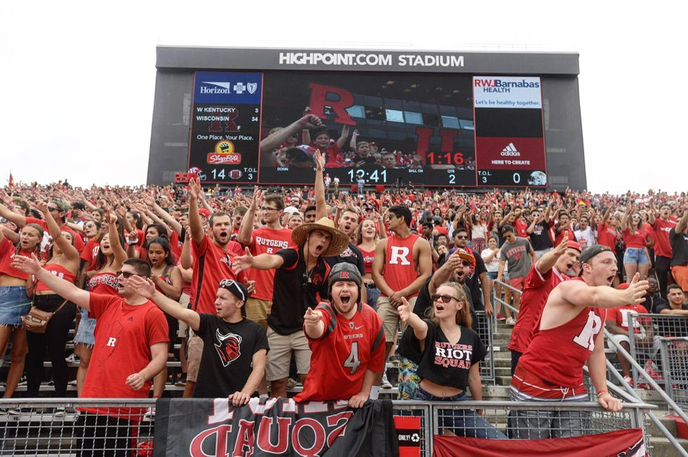 Students at the first Rutgers football game of the 2018 season
