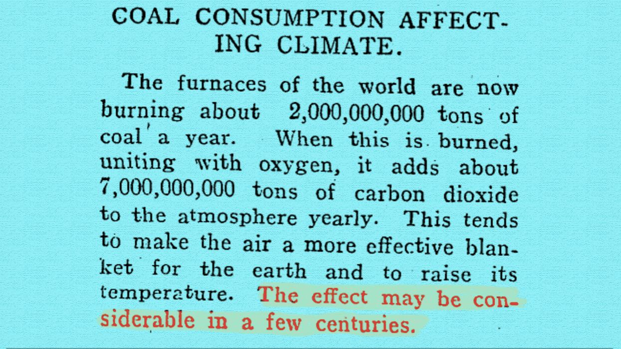 Article from 1912 warns the world about climate change