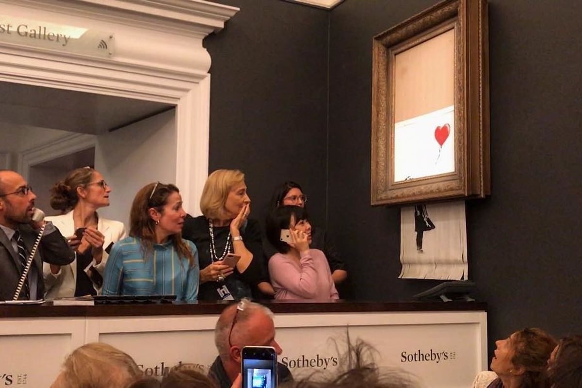 Banksy Painting Self-Destructs After Being Sold for $1.4M