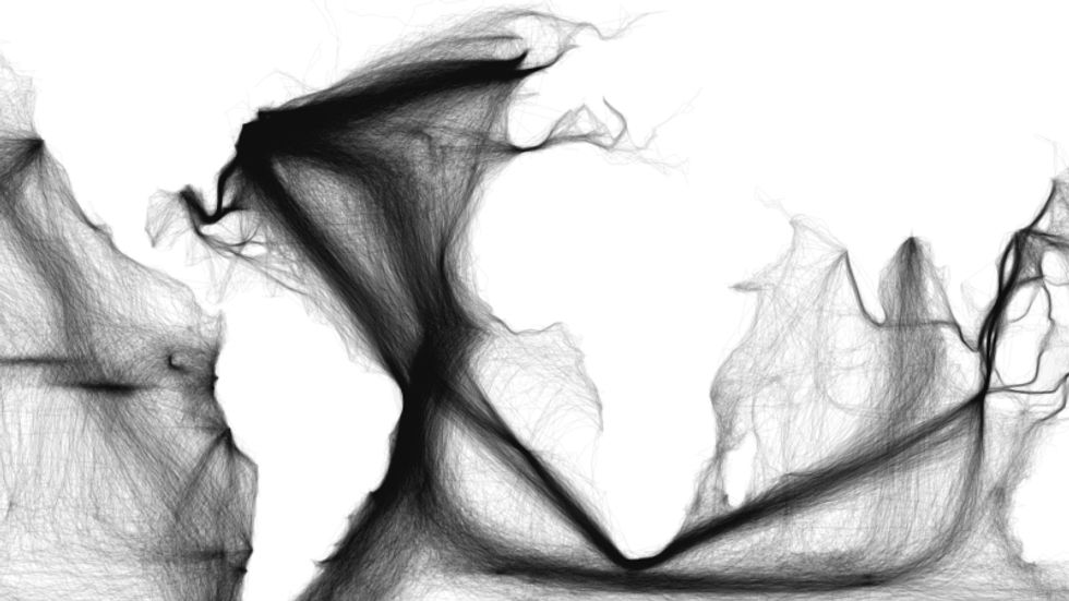 A Digital Map of Ocean Traffic, Mined from Centuries-old Ship's Logs