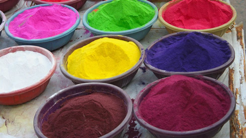 Pots of different colored powders