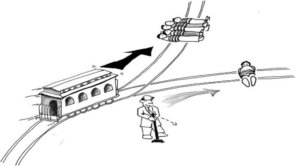 Le problème de chariot. El problema carro. The trolley problem. A moral choice in another language is NOT the same.