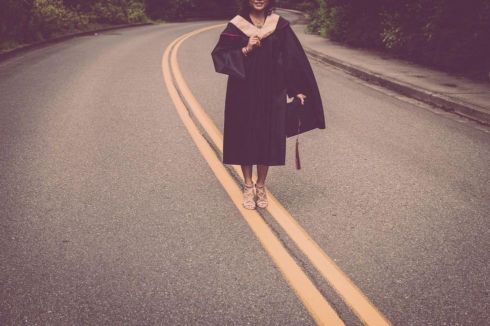 Graduate on road