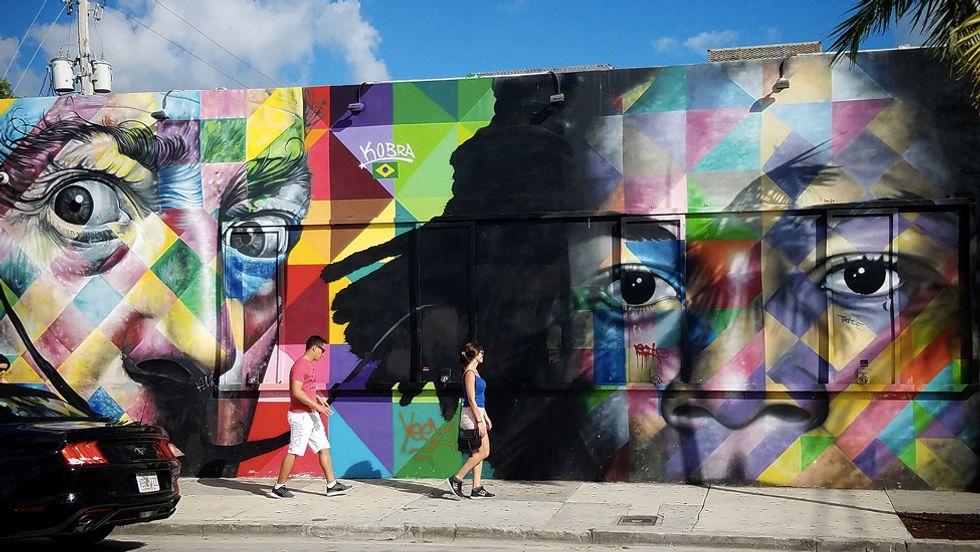 Eduardo Kobra's ARt Salvador Dali mural in Miami, Florida. (Photo: Mussa)