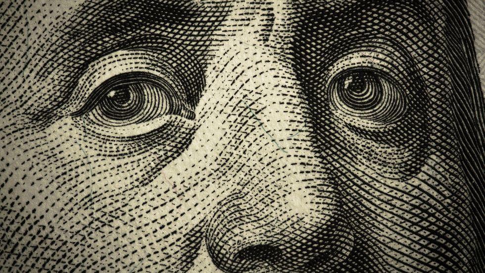 Benjamin Franklin close-up on the $100 bill, by Flickr user Daniel Dionne