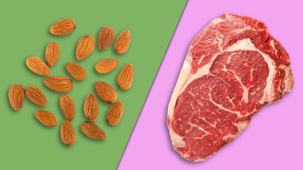 Nut protein vs. meat protein. (Image: Shutterstock/Big Think)