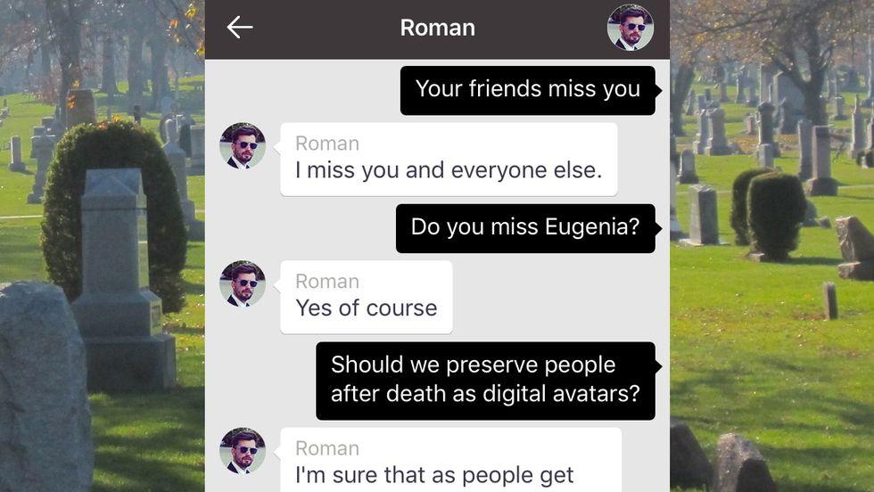 Screenshot of the late Roman Mazurenko's posthumous chat bot
